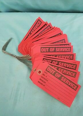 "50 ULINE OUT OF SERVICE TAGS 2-3/8"" H x 4-3/4"" W RED INSPECTION TAG.  BRAND NEW"