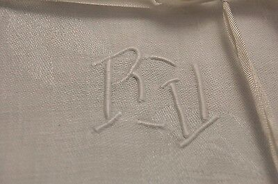 "6 Antique French Pure Linen Damask Napkins RV Monogrammed Serviettes 25 x 31"" XL"