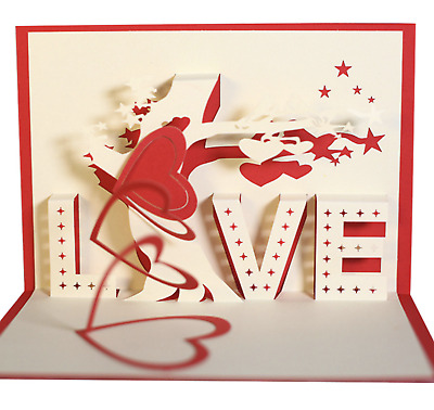 3d Pop Up Greeting Cards Love Wedding Birthday Valentines