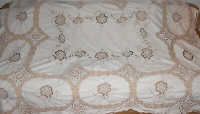 "Beige Tablecloth W/ Crochet and Embroidery Design Size 78"" X 67""  Rectangular"