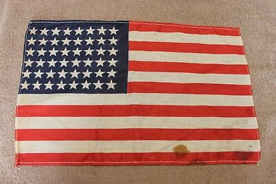 "Original Pre to Early WW2 U.S. National 48 Star Printed Cloth Flag, 14"" by 9"""