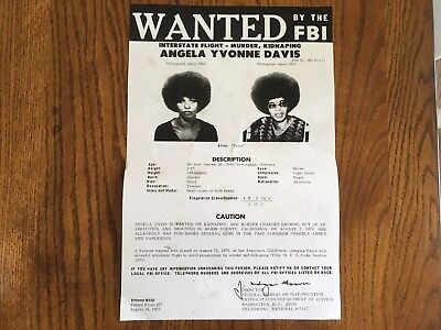 Angela Davis Black Panther Party Fbi Wanted Poster *large Version* *pls Offer*