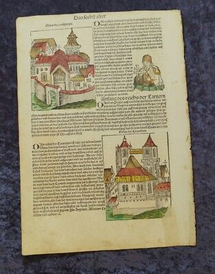 KINGS and CHURCHES OLDCOLOURED WOODCUTS SCHEDEL 2 LEAVES 1493 #C062