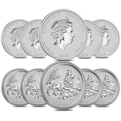Lot of 10 - 2018 1 oz Silver Lunar Year of The Dog Lion Privy BU Perth Mint