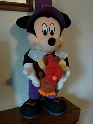 "Rare Disney Mickey Mouse Thanksgiving Pilgrim 28""  Plush Porch Greeter W/ Turkey"