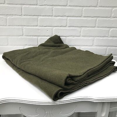 Vintage Wool Blanket Throw Army Green Cabin Camp Cottage