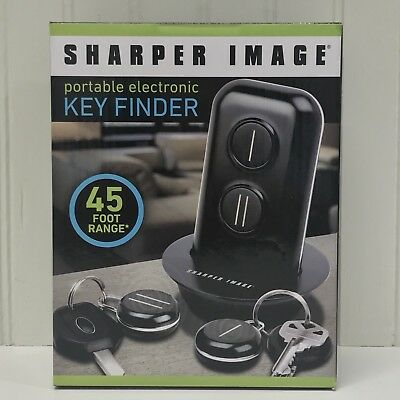 NEW IN BOX!! Sharper Image Portable Electronic Key Finder 45' Range 2 Fobs Inc.