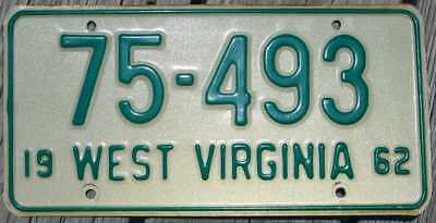 1962 West Virginia License Plate - Passenger Car Tag 75-493 Low Number