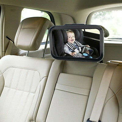 Large Adjustable View Rear/Baby/Child Seat Car Safety Mirror Headrest Mount Lm