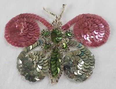 Vintage Glass Bead & Spangle Butterfly Applique  French