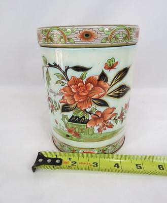 "Vintage Floral Cylinder Tin Box with Lid From England 6"" tall x 4.5"" wide"