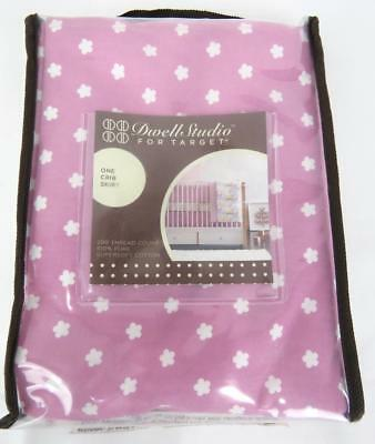 """Baby Crib Skirt Cotton NEW Dwell Studio for Target Pink White Flowers  28"""" x 52"""""""
