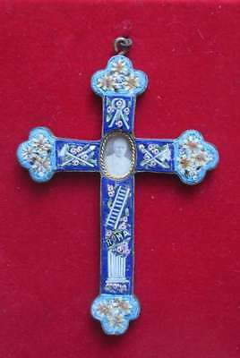 Antique Millefiori micro mosaic cross from Italy!// Art. 189