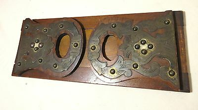 antique 1800's ornate Victorian tooled brass wood expandable book shelf bookend
