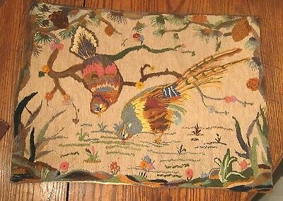 large antique hand sewn made detailed bird figural embroidered needlepoint satin