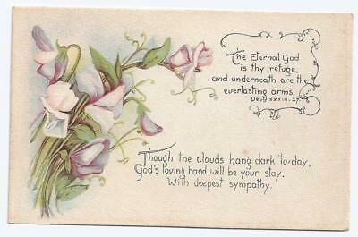 Vintage With Deepest Sympathy Greetings Postcard with Sweet Peas Never Used