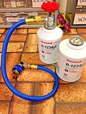 R1234yf Refrigerant, Mastercool, 2 Can, Pro Taper, Hose & Manual Coupler
