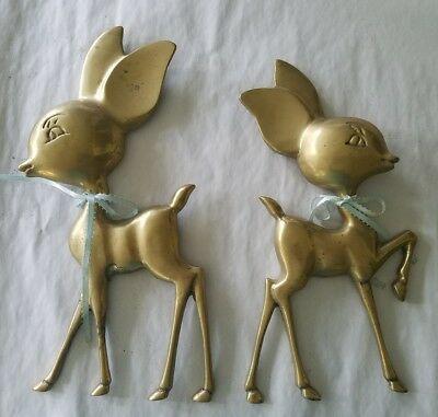 Vintage Pair Of Large Brass Baby Deer Wall Plaques Brass Does Fawns