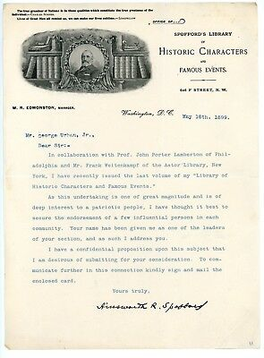Rare 1899 Graphic Letterhead from Spofford's Library Historic in Washington, DC