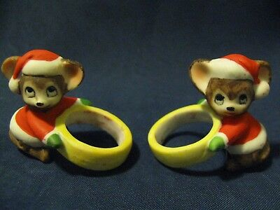 Vintage Christmas Candle Hugger Rings - Santa Mice Mouse