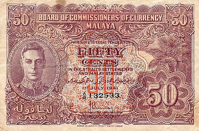 1941 BRITISH MALAYA 50 CENTS NOTE A/21 132533 1sT. JULY 1941 GOOD NICE NOTE
