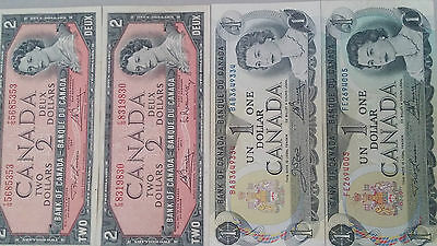 EF..Canada 2 x $2 and 2 x $1,4 diff.sigs. 1954-1969.P76+P85