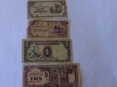 Four(4)) WW2 Japanese Ocupation Banknotes