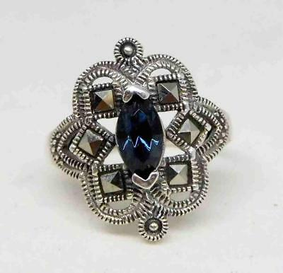 Antique Art Deco Sterling Silver Blue Stone & Marcasite Ring Sz 6 (3.0g) #504