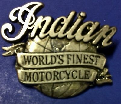 """Indian Motorcycle Pin """"world'S Finest"""" ~ Pinch Clip~ Rare Pristine!"""