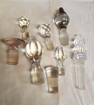 Lot Of 8 Vintage Bottle Stoppers Toppers Glass Crystal Perfume/ Bottles / Cruets