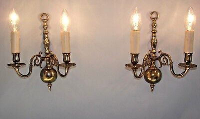 Beautiful Pair of French Traditional Style Vintage Brass Wall Sconces