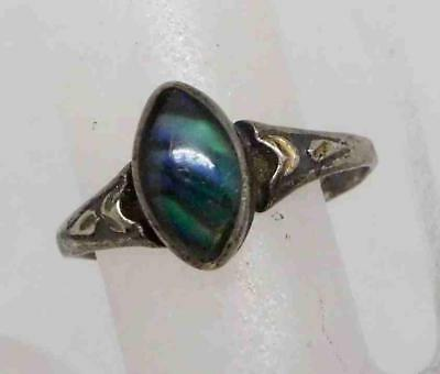 Antique Art Deco Sterling Silver Abalone Ring Sz 6 (1.6g) #508