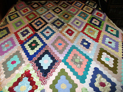 Vintage Hand Made Machine Stitched Light Poly Trip Around The World ? Quilt Unfi
