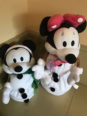 """Disney Minnie Mickey Mouse Stuffed Plush Standing Christmas Doll 27"""" Collapsible"""