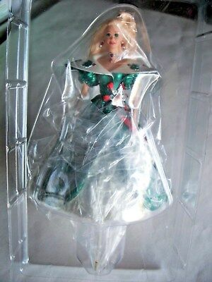 1996 Happy Holidays BARBIE STOCKING HANGER - HALLMARK Christmas box bend