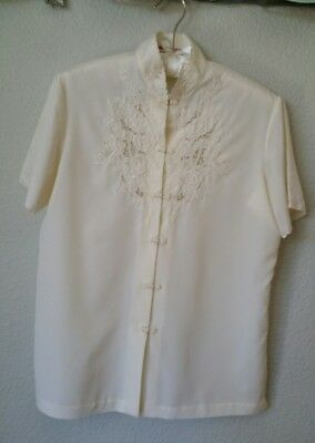 ROSE Brand Vintage Asian Cream Ivory 36 Hand Embroidered Blouse Top Lace Lovely!