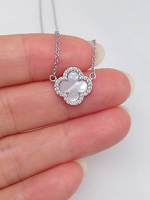 Sterling Silver 925 Cz Mother of Pearl Four Leaf Clover Pendant Necklace 11mm