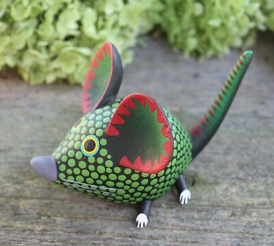Polka Dot Mouse Hand Carved & Painted Black & Green Oaxaca Mexican Folk Art