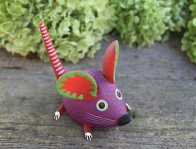 Mouse Polka Dot Hand Carved & Painted Black & Green Oaxaca Mexican Folk Art