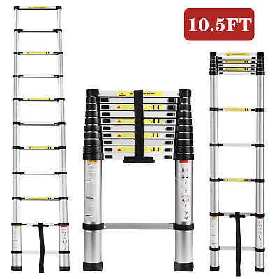 10.5FT Multi Purpose Aluminum Ladder Fold Step Telescopic Extend Garden Tools