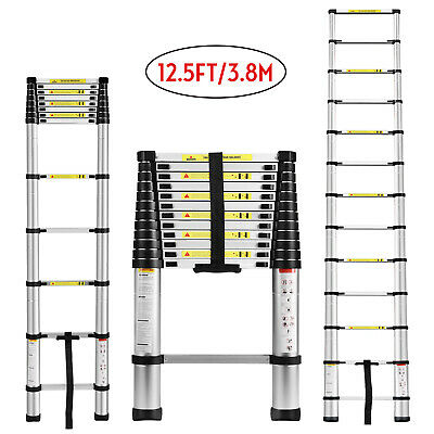 12.5FT Aluminium Ladders Telescoping Multi-Purpose Extension Folding Step Ladder