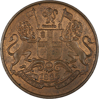 India (British East India Company) 1835 1/4 Anna R+B UNC