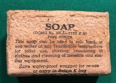 NICE ORIGINAL WW2 US ARMY FOUR OZ BAR SOAP RATION OQMD No 100A-TYPE II-A WWII