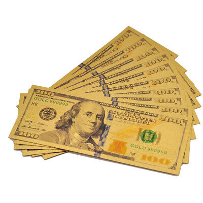 10PCS USD 100 Dollar Gold Banknote Set Gold Foil Golden Currency Bill Collection