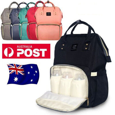 Fashion Large Mummy Nappy Diaper Bag Baby Travel Changing Nursing Backpack AU