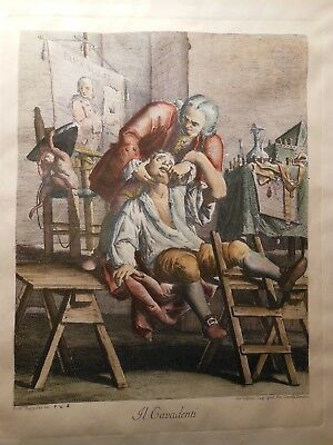 Hand colored engraving, The Tooth Puller, F. Maggiotto, G. Volpato, N. Cavalli