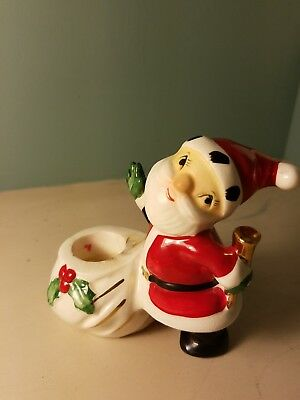 Vintage 1958 Holt Howard Santa Claus Candle Holder Mid Century Modern Christmas