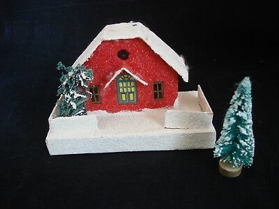 Vintage 1930's Japan LARGE Putz House XMAS VILLAGE Paper, Mica, 'stained glass'