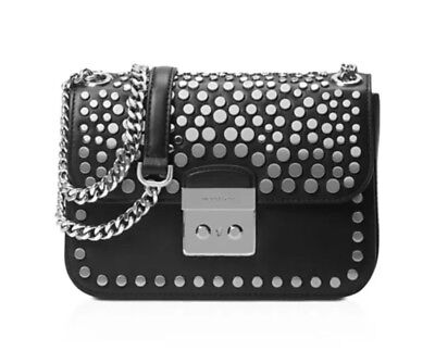 f165afd82423a9 Michael Kors Jenkins Stud Sloan Editor Medium Chain Shoulder Bag Black  Silver