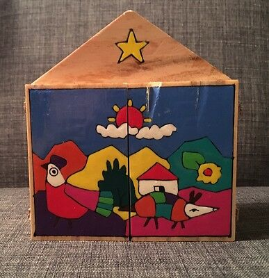 Colorful Handcrafted Wooden Nativity Small Hinged All in one Christmas Nativity